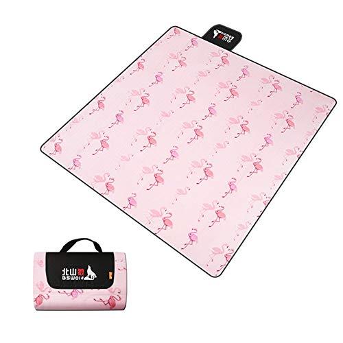 JYY 200 x 200 cm Picknickdecke Campingdecke wärmeisoliert Weich Verdicken wasserdicht mit Tragegriff XXL Outdoordecke - Rosa Flamingo