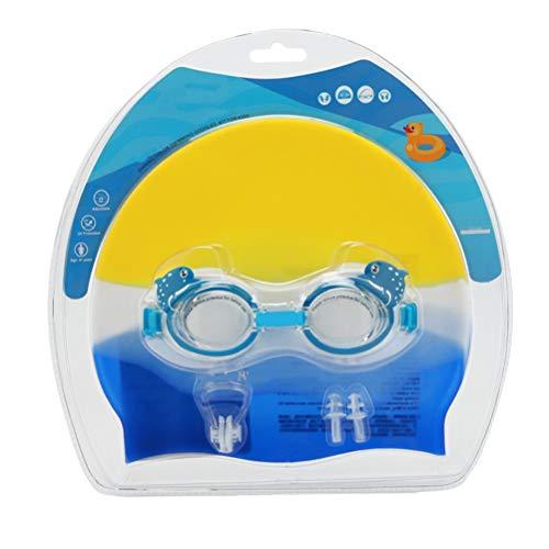 Abaodam Gorro de natación de silicona para niños, antivaho, gafas de buceo, clip para la nariz, tapones para los oídos para niños, suministros de natación (azul)
