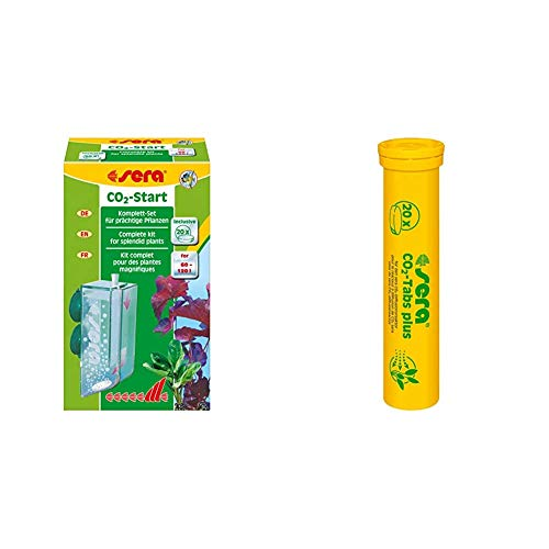 Sera 08039 CO2-Start für den Einstieg in die CO2-Düngung - CO2 Anlage mit CO2 Tabletten & CO2-Tabs Plus (20 CO2 Tabletten) geeignet CO2-Start BZW Pflanzenpflege Set