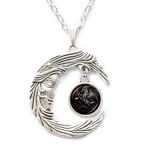 Collar de dragón negro rosa con colgante de cristal de cabujón para hombres y mujeres amantes de la cadena