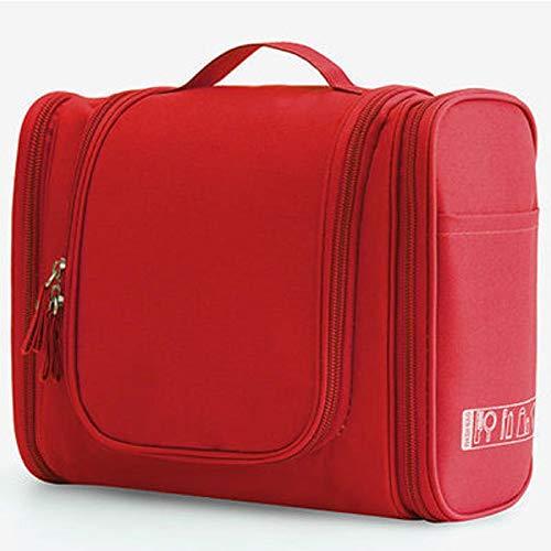 Swadal Neceser de viaje portátil de gran capacidad, adecuado para dormitorio, tocador, viajes, color rojo