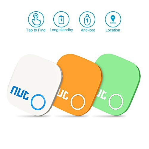 Evershop Key Finder Smart GPS Trackers Anti Lost Tracker Device Bluetooth Locator Bidirectional Alarm Reminder for Phone Kids Car Pets Wallet, Smart Tag with APP (White+Orange+Green)