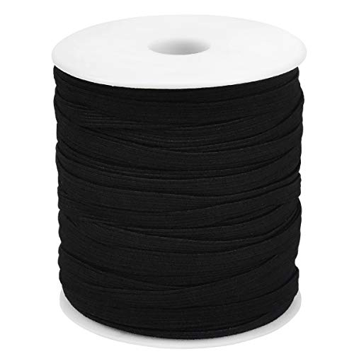 50 Yards Goma Elastica Costura, 6mm Cordón Elástico, Banda Plana Elástica Cintas Cuerda Para Costura y Manualidades DIY (Negro)