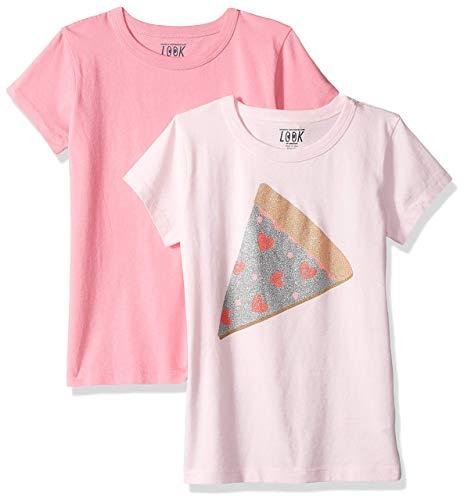 LOOK by Crewcuts - Camiseta de manga corta para niña, liso/estampado (2 unidades), Glitter Pizza/Pink, 6-7