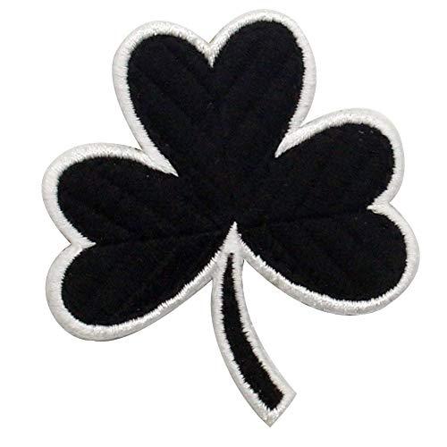 Trébol irlandés Irlanda del trébol afortunado Broche Bordado de Gancho y Parche de Gancho y bucle de cierre, Blanco negro