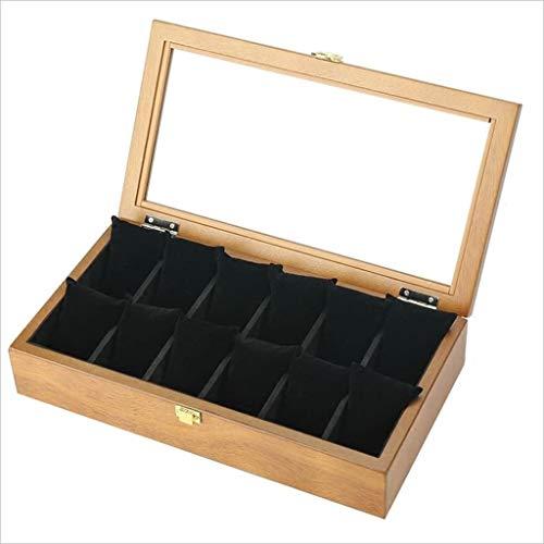 Make-Up Etuis Uhr Aufbewahrungsbox Retro Holz Glas Schiebedach Uhr Box 12 Grid Aufbewahrungsbox Armband Kette Display Box Sammlung Aufbewahrungsbox Schmuckschatulle