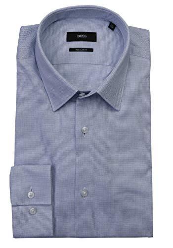 BOSS Regular Fit Hemd Eliott extra Langer Arm Baumwolle Struktur blau Größe 41