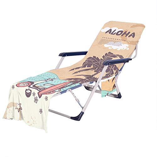 El Verano Toalla de Playa Vacaciones Tema Árbol de Coco Autobús Chancletas Impresión Bolsa de Toalla Portátil Cubierta Dela Silla de Playa para Exterior Viaje (Color 5, 75 × 210 cm)