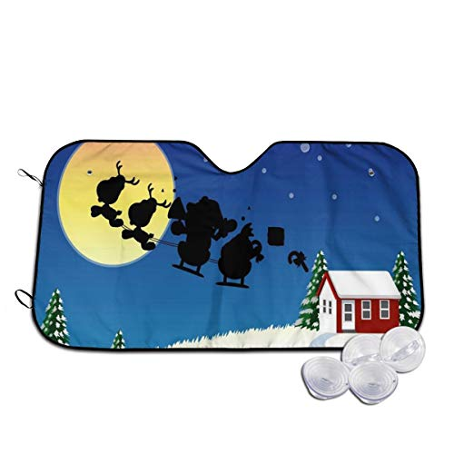 Rterss Windschutzscheibe, Weihnachtsmann mit Schlitten fliegender Mond, Sonnenblende für die Frontscheibe, Glas, verhindert das Aufwärmen des Autos im Inneren Gr. 80, weiß