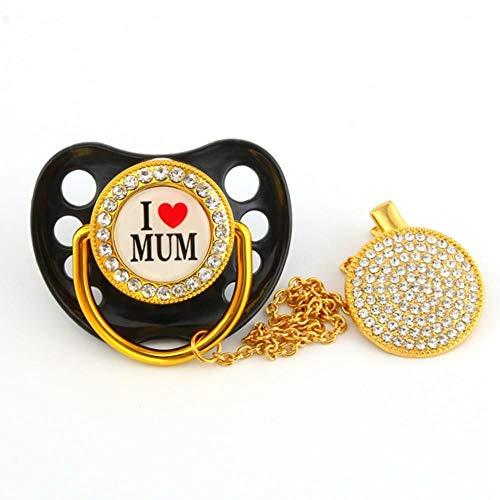 Luxus Diamant Sparkle Kristalle Baby Schnuller Strass Schnullerkette Clip, Brief Strass Design Ich liebe Mama Papa Schnuller Schnuller Halter