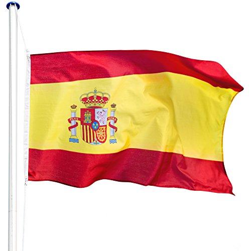 TecTake Mástil para bandera 6,25 m con bandera y cuerda palo asta aluminio - varios modelos - (España | no. 402848)