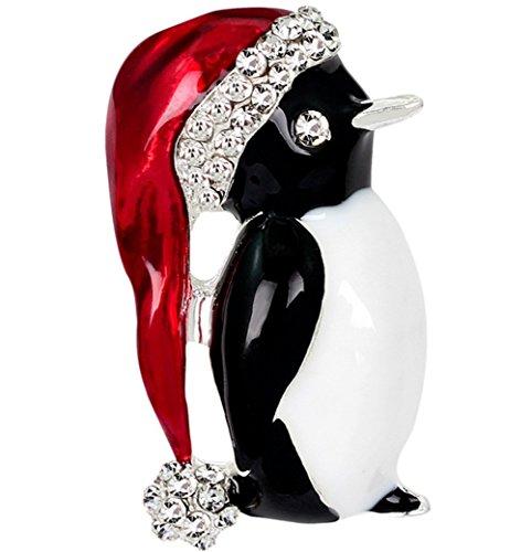 Cosanter Broches de Navidad Pin Rhinestone pingüino corsé suéter Bufandas Collar Regalo de decoración de Navidad para Las Mujeres (Plata)