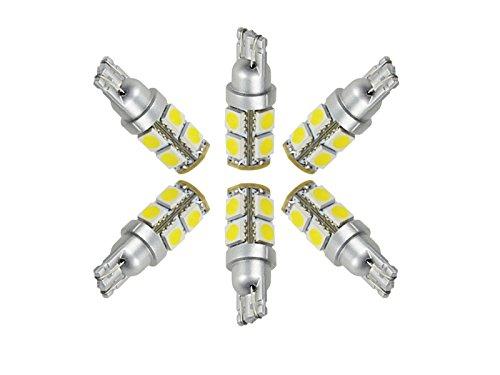 Njytouch Lot de 6 Blanc chaud 9smd 5050 T10 W5 W 2825 158 192 168 194 LED WEDGE ampoules 3000 K DC 12 V