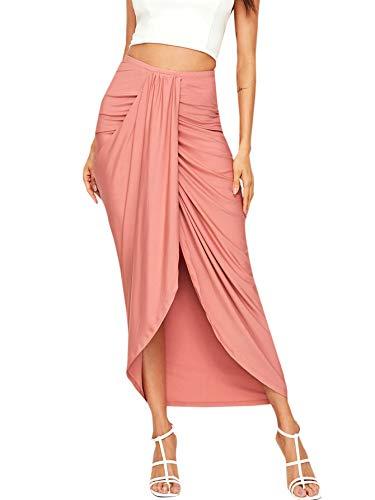 SheIn Women's Casual Slit Wrap Asymmetrical Elastic High Waist Maxi Draped Skirt Pink Large
