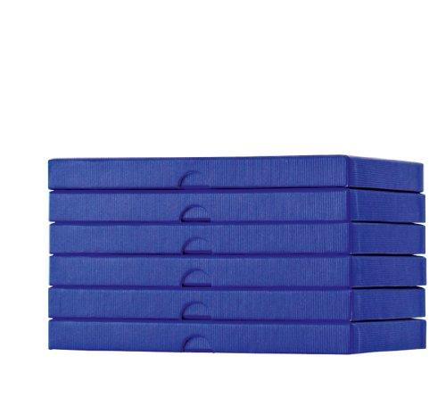 Stewo Geschenkboxen Kartonagen, 6 Stück mit Rillenprägung, 20,5 x 15 x 2 cm, dunkelblau