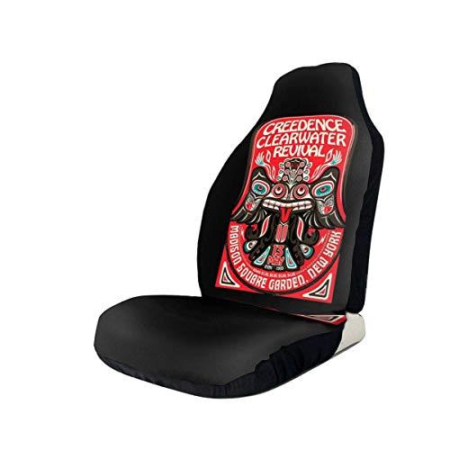 BAODANLE Fundas de Asiento de Coche Creedence Clearwater Revival Cool, Cubierta de Asiento de Cubo con Protectores de Almohadilla de cinturón de Seguridad para automóvil