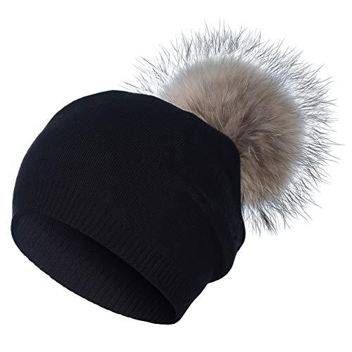 WELROG Berretto da Donna in Maglia di Lana - Cappelli da Sci in Cashmere Massiccio Invernale Real Raccoon Pom Pom (Nero)