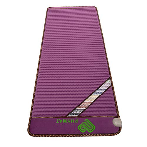 "PHYMAT Far Infrared Amethyst Heating Pad (67""x27"")- 5 Color Natural Crystal Heat Mat - Amethyst Infrared Heating Mat with Auto Shut Off - EMF Free,Overheat Protection,Smart Control"