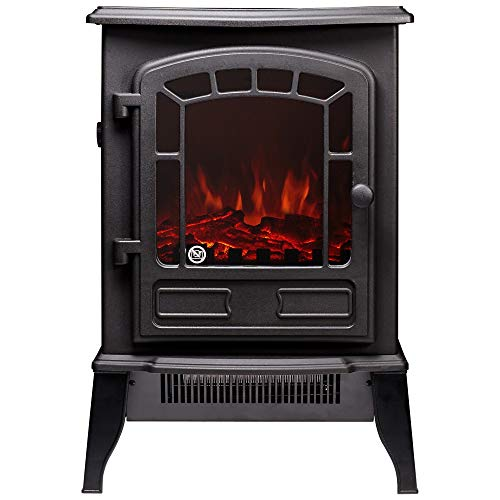 Adam The Ripon 1&2KW Freestanding Black Electric Stove with Realistic LED Flame Effect and Log Fuel Bed