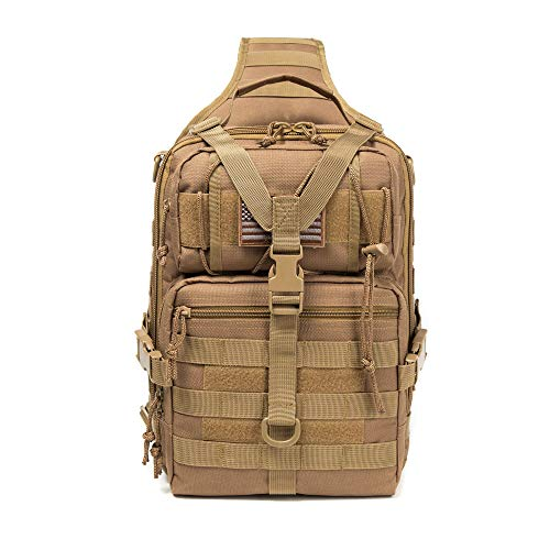 J.CARP Tactical EDC Sling Bag Pack, Military Rover Shoulder Molle Backpack, with USA Flag Patch, Deep Coyote