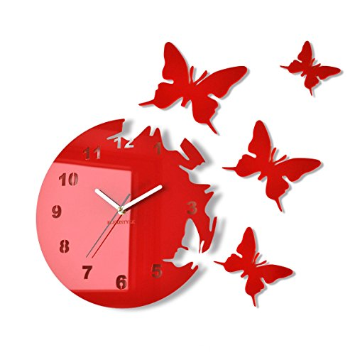 FLEXISTYLE Orologio da Parete Salotto Tondo Moderno Farfalle Rosso Decorativo Silenzioso 30 cm