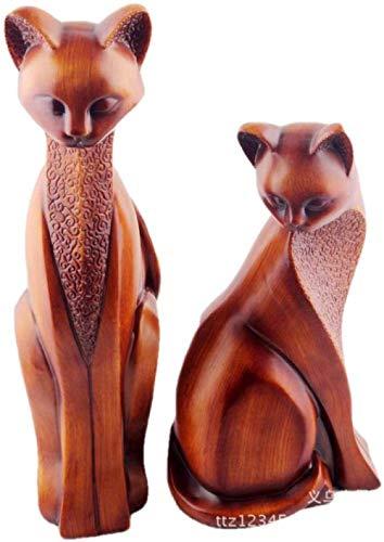 Sculptures Décoratives Objets De Décoration Statue Ornement Grain De Bois Chat Couple Décoration...