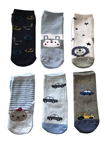 Baby Cotton Socks Lot de 6 paires de chaussettes antidérapantes en coton coloré, douces et chaudes et originales (0 à 6 mois)