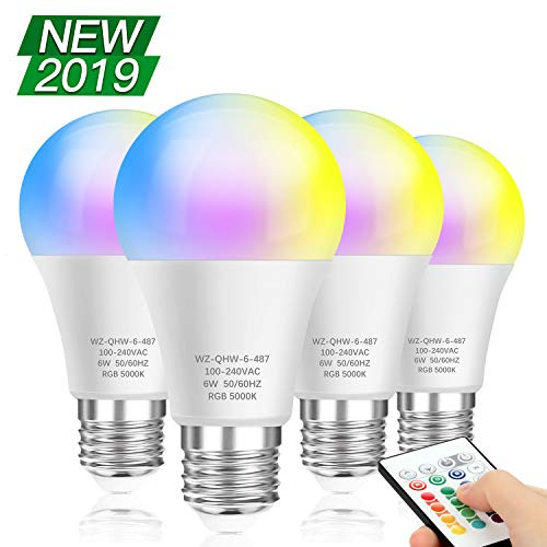 4-Pack RGB LED Light Bulbs Remote Control, A19 E26 Edison Screw Base, RGBW Dimmable Color Changing Bulb 60W Equivalent, 16 Colors Memory Function Decorative Lights for Bar, Stage, Home, Party