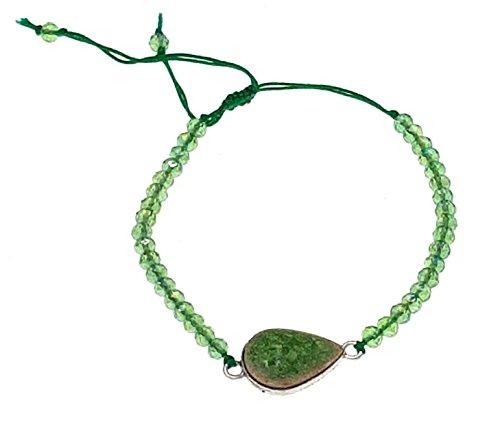 Bracciale filo amicizia unisex corallini goccia verde