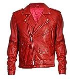 Herren Vintage Classic Cafe Racer Brando Biker Rot Motorrad Lederjacke Gr. L, rot