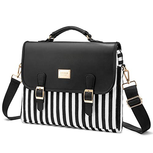 Computer Bag Laptop Bag for Women Cute Laptop Sleeve Case for Work College, Stripe-Black, 14-Inch