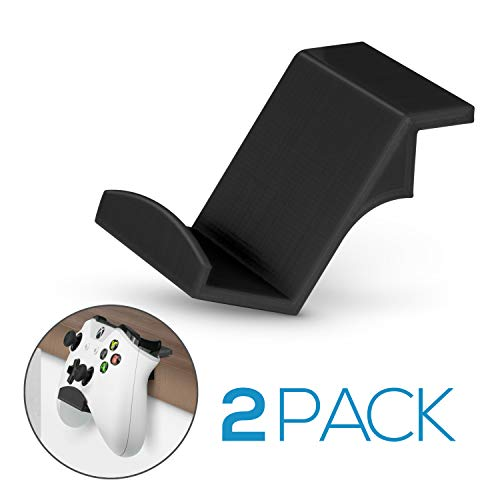 Game Controller Desktop Stand Holder (2 Pack) for XBOX ONE 360 SWITCH PS4 STEAM PC NINTENDO, Universal Gamepad Accessories - No screws, Stick on, Black By Brainwavz