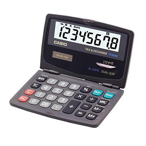 CASIO Taschenrechner SL-210TE, 10-stellig, mit Steuerberechnung, Tausenderunterteilung, klappbar, Solar-/Batteriebetrieb