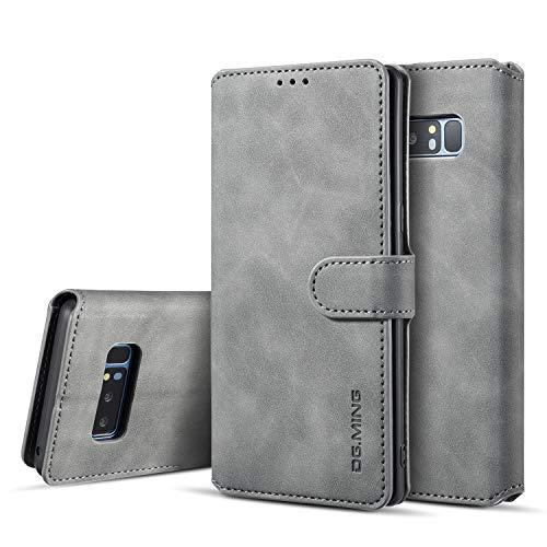 UEEBAI Handyhülle für Samsung Galaxy Note 8, Hülle Retro Premium PU Leder Weich TPU Klapphülle [Magnetverschluss] Kartenfach Standfunktion Anti Kratzern Flip Wallet Trageband Schutzhülle - Grau