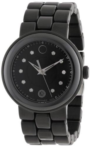Movado Mujer 0606693Cerena Negro cerámica Caso y Pulsera de Acero Inoxidable Negro PVD Negro Diamante Dial Reloj