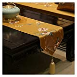 YCSC Ventilador Plegable Bordado Tabla Corredores Flores Patrón Estilo Chino Cubiertas de Mesa de Mesa de té Paño de decoración del gabinete de la Mesa (Color : Ginger, Size : 33x210cm)