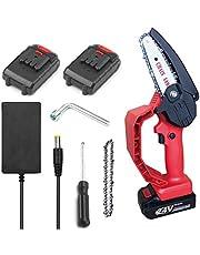 KKmoon Elektrische kettingzaag, elektrische kettingzaag, mini-kettingzaag, 4 inch, ter bescherming tegen kabels, 24 V, oplaadbaar, voor houtbewerking, twee soorten batterijen, rood