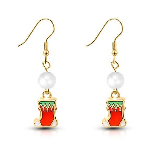 2 piezas de decoración de Navidad pendientes de Navidad para el hogar, pendientes de oreja para niña, pendientes de oreja natal año nuevo (color: gris oscuro)