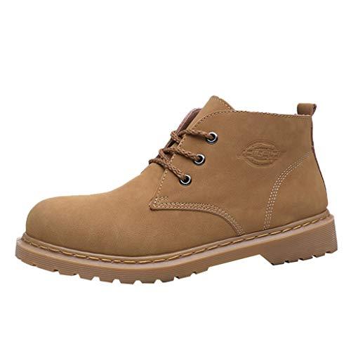 TIFIY Herren Stiefel 2019 Herren Outdoor Matte Lederstiefel Trend England Style Wildleder rutschfeste Skid Boots Cool Wild Im Freien Sportlich Winter Schuhe(Braun,41)