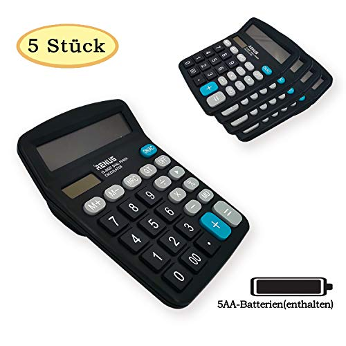 RENUS Standard Taschenrechner 12-stelliger Tischrechner Dual-Power (Solar und Batterie),Schwarz, 5er Pack
