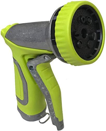 MAXFLO - Boquilla para manguera de jardín (9 patrones de riego ajustables, antideslizante, resistente a los golpes, para riego y limpieza y lavado de coches, color verde