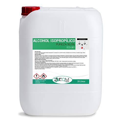 Ecosoluciones Químicas ECO-301 | Alcohol Isopropílico 99,9% Alta pureza | 20 litros | Limpieza componentes electrónicos, Objetivos, Pantallas, etc. | Desinfección y Limpieza Superficies