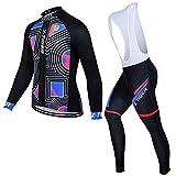 YODZ Conjunto De Camisetas De Ciclismo para Hombre Transpirable UPF40 + Traje De Ciclismo De Secado Rápido De Manga Larga + Pantalones De Babero Acolchados con Gel 3D,Negro,XL