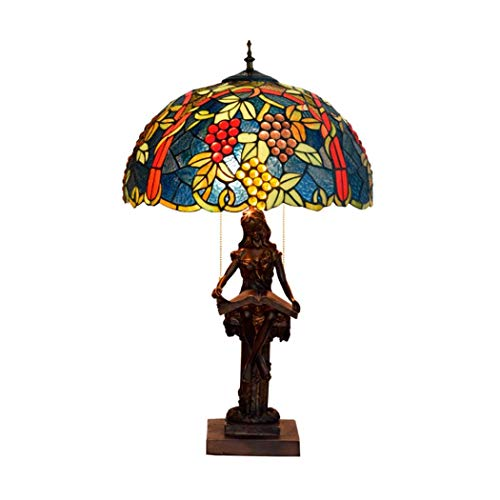 KELITINAus Style Lamp Stained Glass Table Lamps Wide 16 inch Height 27 inch for Lover Girlfriend Women Living Room Bedroom Antique Desk Bedside Lamp,E27 (A),G