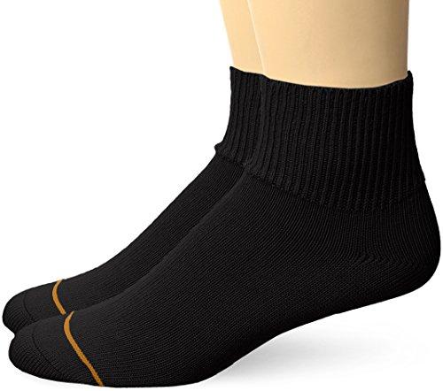 Gold Toe Men's Non Binding Quarter Socks, 2-Pairs, Black, Large