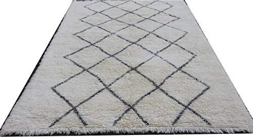 MAREL-DIDI Beni Ourain Teppich aus Marokko, Berberteppich 194 x 300 cm, handgeknüpft, Flormaterial aus 100% Schurwolle, hat ca. 13.500 Knoten per m2, Gesamthöhe ca. 20-25 mm, Einzelstück (Unikat).