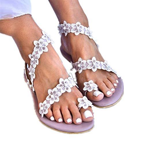 Aniywn Womens Flip Flops Sandals Bohemian Floral Open Toe Casual Flats Sandals Summer Slide Beach Walking Shoes Purple