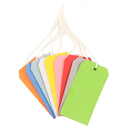 JAM PAPER Gift Tags with String - Medium - 4 3/4 x 2 3/8 - Assorted Primary Colors - 60/Pack