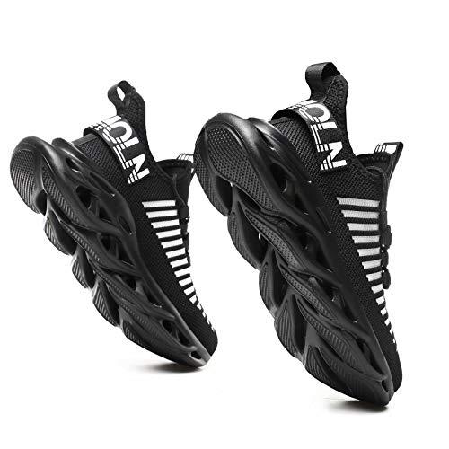 GSLMOLN Men Fashion Mesh Ultra Lightweight Sport Gym Shoes Women Cross Training Slip-On Casual Shoes for Walking Black 42