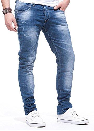 Leif Nelson Herren Jeans Hose Slim Fit Denim Blaue graue Lange Jeanshose für Männer Coole Jungen weiße Stretch Freizeithose Schwarze Cargo Chino Sommer Winter Basic LN271 Blau W30/L30